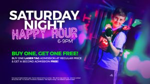 BOGO laser tag sessions every Saturday Night!